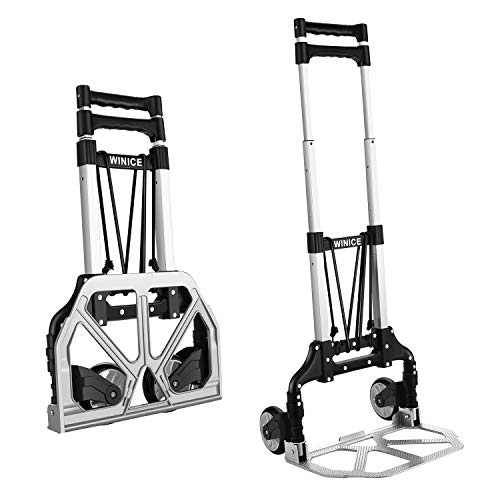 Nesaila Folding Hand Truck Heavy Duty 165lbs Capacity Portable Aluminum Alloy Hand Cart and Dolly Ideal for Home, Auto, Office,Travel Use (2 Wheels)