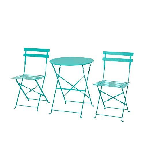 Outsunny Set 3 Pezzi Tavolino con Sedie da Giardino Pieghevoli, Mobili da Esterno in Metallo, Verde
