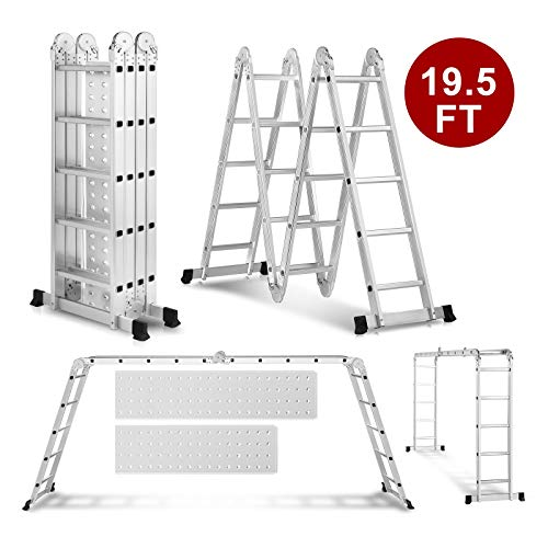 19.5ft Heavy Duty Gaint Aluminum Multi Purpose Folding Ladder Scaffold Ladders with 2 Platform Plates- 330Lbs