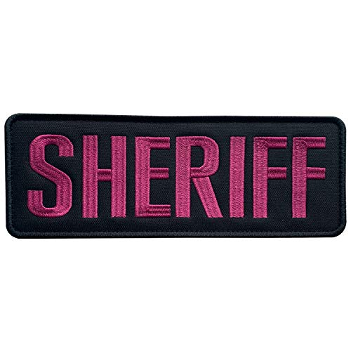 uuKen Large Embroidery Pink Deputy Sheriff Department Patch 8.5x3 inches for Tactical Vest Jacket Uniform Plate Carrier Back Panel (Pink, Large 8.5'x3')