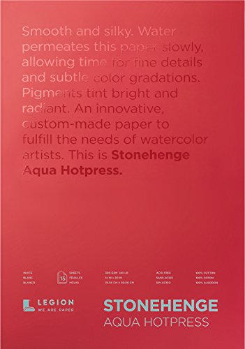 Legion Stonehenge Aqua Watercolor Block , 140 Hot Press, 12 X 16 inches, 15 Sheets, White