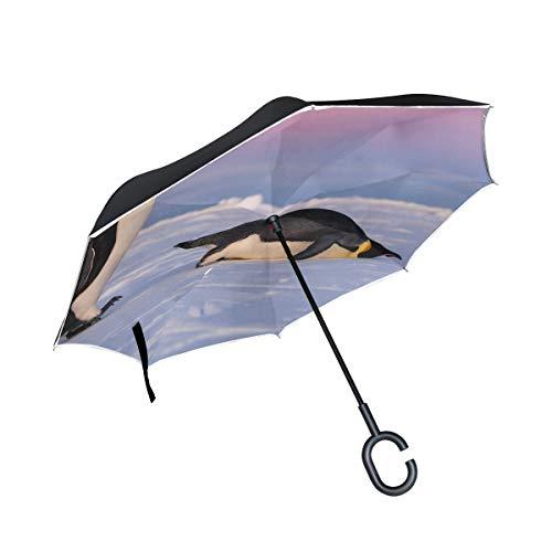 Double Layer Inverted Folding Compact Regenschirm Cute Emperor Penguins One Standing One Regenschirme Inverted Rain Inverted Umbrella Winddichter UV-Schutz für Regen Mit C-förmigem Griff