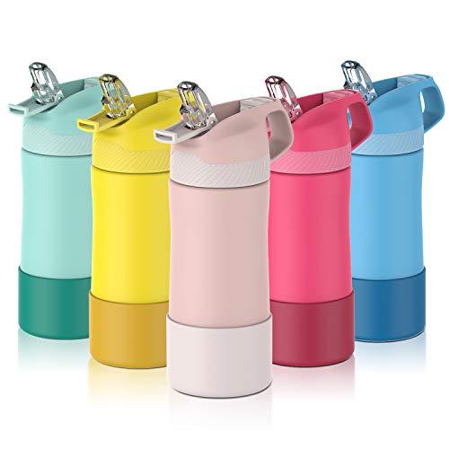 FJbottle Borraccia Bambini acciaio inox con cannuccia, Senza BPA- Termos 400ml, Bottiglia Termica - Caldo/Freddo, Bottiglia Acqua riutilizzabile - per campeggio, scuola, asilo a Prova di perdite