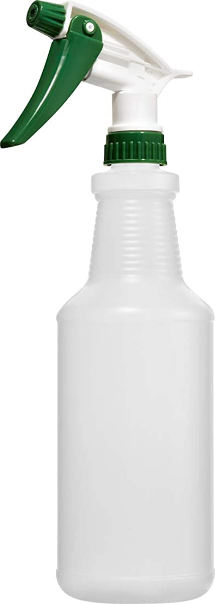 Empty Plastic Spray Bottle 32 Ounce, Professional Chemical Resistant with Green-White Sprayer for Chemical and Cleaning Solution, Heavy Duty, Adjustable Head Sprayer from Fine to Stream