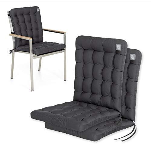 HAVE A SEAT Luxury   Gartenstuhlauflagen - Niedriglehner Polster Auflage, waschbar bei 95°C, Trockner geeignet, Sitzauflage für Gartenstuhl (2er Set - 100x48 cm, Grau-Anthrazit)