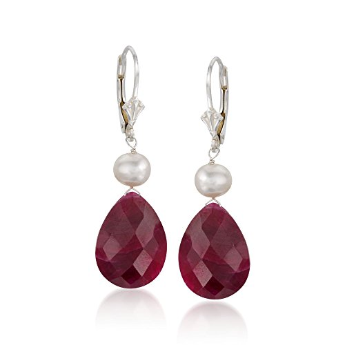 Ross-Simons 20.00 ct. t.w. Ruby and Cultured Pearl Drop Earrings in Sterling Silver For Women 925