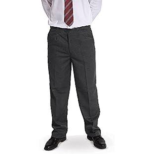 "Direct Uniforms BOYS PLUS SIZE ""PALVINI"" STURDY FIT SCHOOL TROUSERS SHORT LEG (L Waist 32-36""- inside leg 26"", GREY):Superclub"