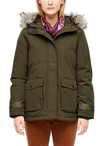 s.Oliver Damen Warmer Parka mit Fake Fur-Detail Olive 42