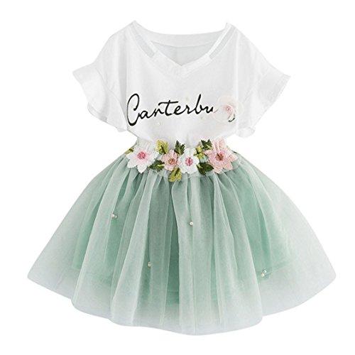 YUAN Baby Mädchen Kleidung Set 2 Stück Tops+ Rock Tütü Pettiskirt Geburtstag Geschenk Outfits Verkleidung (4 Jahre, Grün)