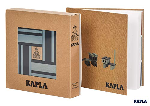 Kapla 9000105 houten plaatjes doos met 40 blauw + boek