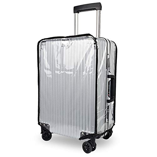 kroeus(クロース)スーツケースカバー 透明 PVC製 防水 防傷 防塵 レインカバー 旅行 ラゲッジカバー 無地 黒フチ トランクカバー 20