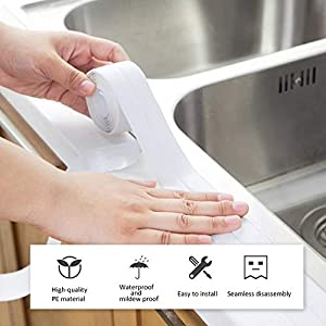 "NewSheep 1 Caulk Strip PE Self Adhesive Tape for Bathtub Bathroom Shower Toilet Kitchen and Wall Sealing, 1-1/2"" x 11'-White"