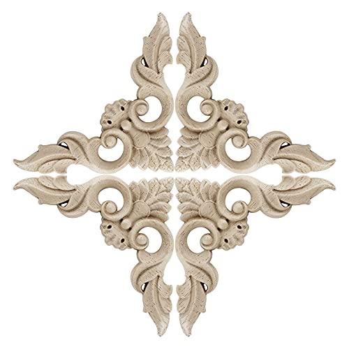IGNPION Un conjunto de 4 calcomanías talladas en madera de búho, 10 x 10 cm, sin pintar, para tallar madera, molduras de madera, decoración de muebles vintage para gabinete puerta pecho espejo