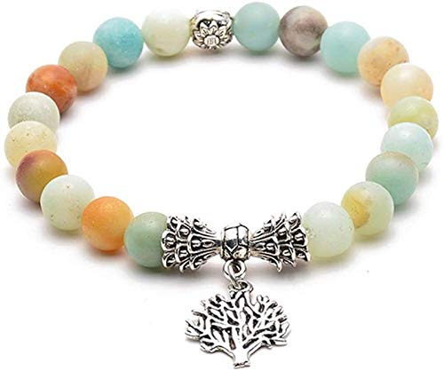KEEBON Beaded Bracelet Beaded Bangle Yoga Beads Bracelet Yoga Stone Bracelet Anxiety Bracelet Life Tree Bracelet Pine Stone Bracelet Couple Bracelet (Color : 4)