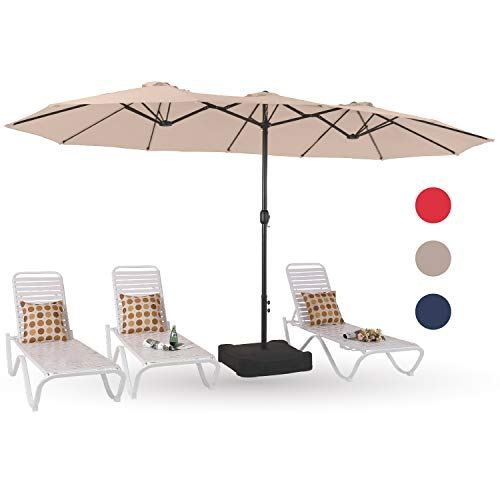 PHI VILLA 15ft Patio Umbrella Double-Sided Outdoor Market Extra Large Umbrella with Crank, Umbrella Base Included (Beige)