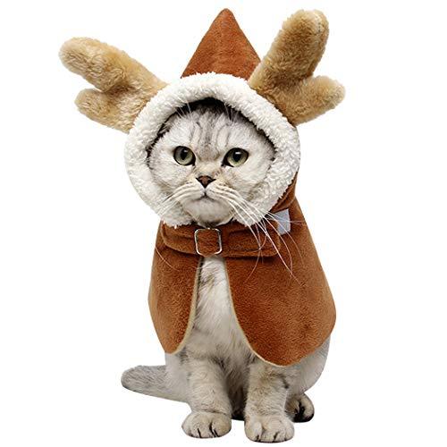 Legendog Haustier Cape Kreative Winter Kapuzen Drachenhorn Haustier Mantel Haustier Kostüm für Hunde Katzen