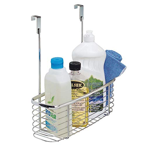 mDesign – Organizador de Cocina – Estante Colgante para almacenar el Papel de Aluminio, Las Bolsas de congelación y los detergentes – Estante Cuadrado de Color Cromo