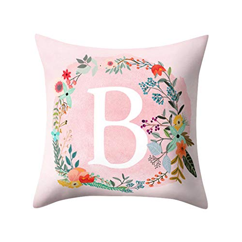 Uscharm 26 Letters Throw Pillow Covers Flower Floral Wreath Pillowcases Alphabet Soft Cushion Cover Square Pillow Protectors for Sofa Couch Bedding Car Chair Home Decor(Pink Wreath - B,18 X 18IN)