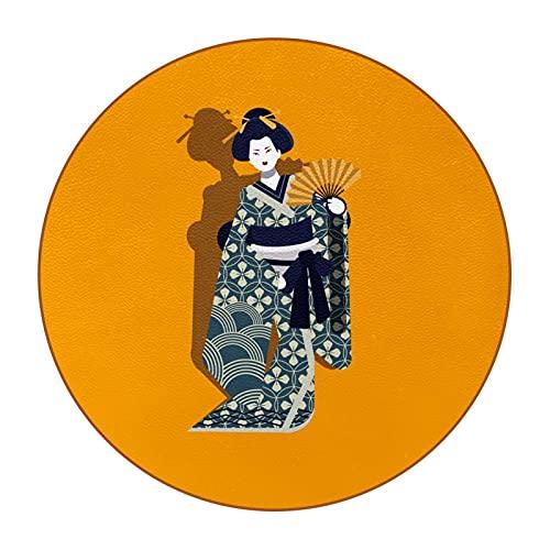 Juego de 6 posavasos para bebidas, portavasos de cristal, para tazas de café, para tipos de tazas y tazas, disfraz nacional japonés