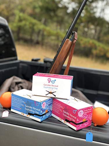 The Original Gender Reveal Orange Target Shotgun Exploding Target Balls Set by X&Y (1 Pink & 1 Blue Ball) | Gender Reveal Powder Shooting Balls