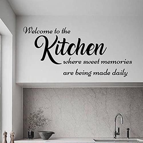 Kjlfow Etiqueta de la Pared de la Cocina Bienvenido a la Etiqueta de la Pared de la señalización de la Cocina Arte de la Pared del hogar Mural Decoración del hogar Amor 91x42cm 🔥