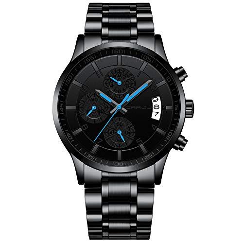 Relógio de pulso masculino CRRJU multifuncional com seis pinos e cronógrafo, pulseira de aço inoxidável à prova d'água, grey blue