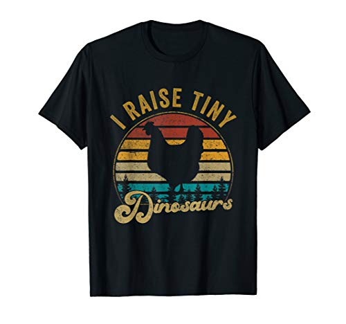 I Raise Tiny Dinosaurs Vintage Retro 70S Chicken Silhouette T-Shirt