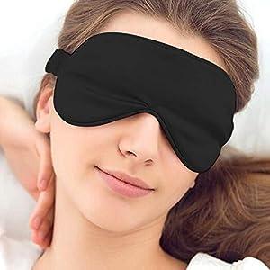 Hually Antifaz para Dormir,100% Antifaz de Seda para Dormir Seda Natural y Relleno de Algodón Natural Cubierta para Ojos y Lisa para Hombres y Mujeres, ara Dormir por la Noche, Viajes, Siesta (Negro)