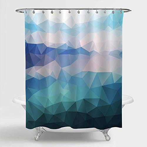 MitoVilla Blue Ombre Geometric Shower Curtain for Modern Bathroom Decor, Polygonal Background of Abstract Ocean Seascape Art Print, Washable Polyester Fabric Bathroom Accessories, 72' W x 72' L