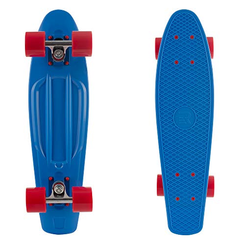 Retrospec Quip Skateboard 225quot amp 27quot Classic Plastic Mini Cruiser Complete Skate Board  Blue/Red