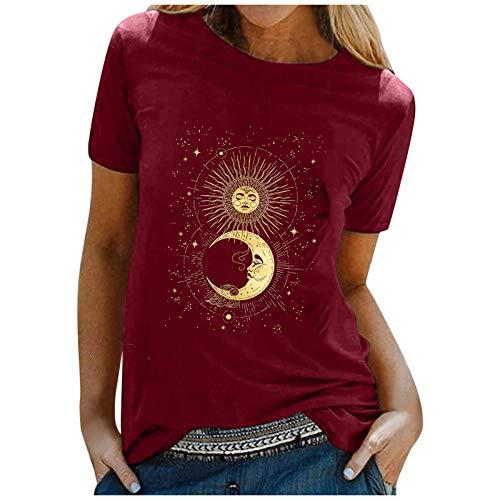 ReooLy Women T-Shirt,Sun Moon Star Print T-Shirt Blouse O-Neck Short Sleeve Tops(Wine,Small)