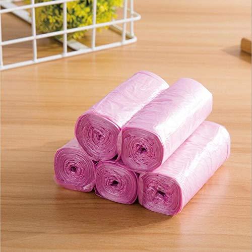 SHAOLIN 5 Rollen hochwertige Müllsäcke, rosa dick und praktisch, umweltfreundlich und sauber, Abfalllagerung, Plastikmüllsäcke 45 * 50CM