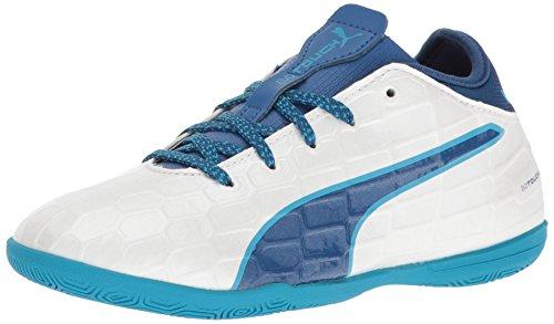 Puma Puma Kids' EvoTouch 3 IT Jr Skate Shoe, Puma White-True Blue-Blue Danube, 6 M US Big Kid