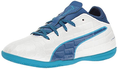 Puma Puma Kids' EvoTouch 3 IT Jr Skate Shoe, Puma White-True Blue-Blue Danube, 6 M US Big Kid