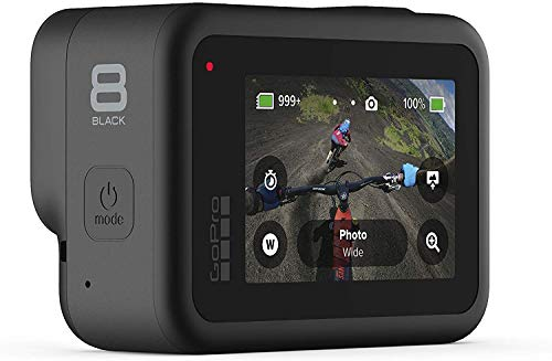 GoPro HERO8 Black — Waterproof Action Camera with Touch Screen 4K Ultra HD Video 12MP Photos 1080p Live Streaming… 5 GoPro Hero 8 all Accessories + Full USA Warranties PREMIUM RITZ CAMERA BUNDLE INCLUDES:GoPro Hero 8 Action Camera, Lexar 128GB High-Performance U3 MicroSD Video Memory Card, and Ritz Gear Card Reader STREAMLINED DESIGN - The re-imagined shape is more pocketable, and folding fingers at the base let you swap mounts quickly. A new side door makes changing batteries even faster, and the lens is now 2x more impact-resistant. HERO8 BLACK MODS - Vloggers, pro filmmakers and aspiring creators can do more than ever imagined – with quick-loading accessories like flashes, microphones, LCD screens and more. Just add the optional Media Mod to up your capture game.
