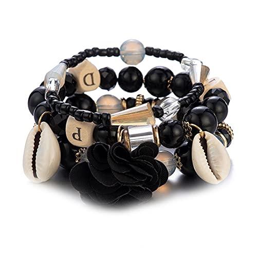 1 reloj de pulsera de múltiples capas negro con cuentas pulsera bohemia playa Carolina del Norte colgante de flores