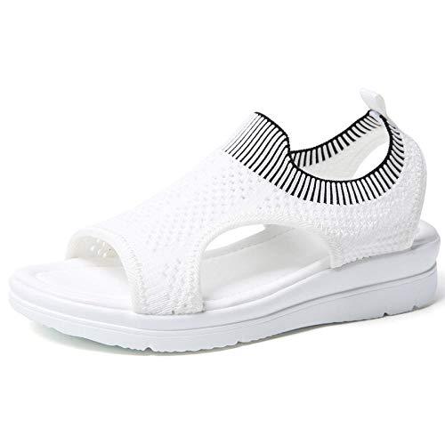 royan Sandalen voor Vrouwen Casual Sport Sandalen Geweven mesh Schoenen te vliegen groot formaat wit_35