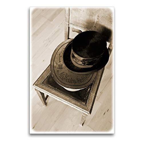 CALVENDO Lienzo Premium de 60 cm x 90 cm de Alto, Cilindro y Sombrero, Imagen sobre Bastidor, Lienzo, impresión en Lienzo, Arte