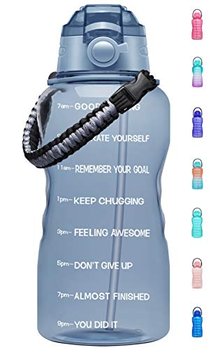 Fidus Large Half Gallon/64OZ Motivational Water Bottle with Paracord Handle & Removable Straw - BPA Free Leakproof Water Jug with Time Marker to Ensure You Drink Enough Water Daily-Gray