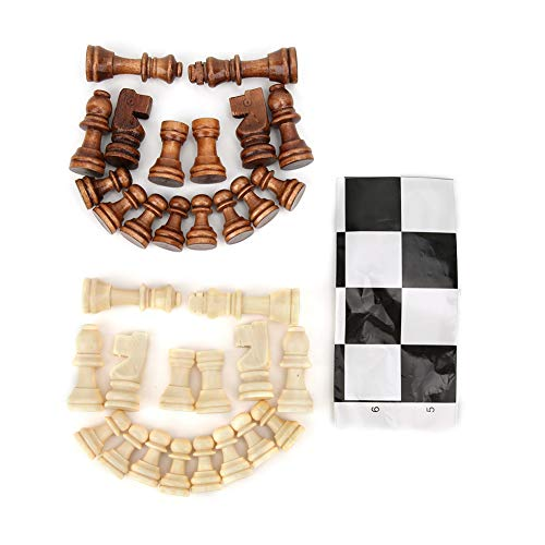 Tnfeeon Juego de ajedrez de Madera, Tablero de ajedrez de Madera Juego de Piezas de ajedrez con película de plástico Juego Intelectual niños Adultos