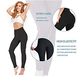 AIMILIA Butt Lifting Anti Cellulite Leggings for Women High Waisted Yoga Pants Workout Tummy Control Sport Tights