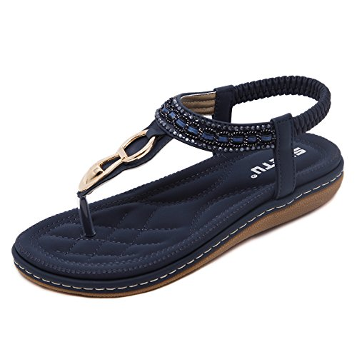 Femme Plat strass Thong Sandales Sangle élastique Toe Post ETE Beach Shoes NEW