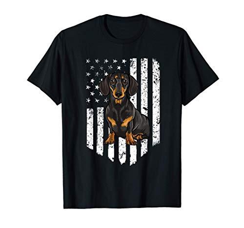 Bandiera Americana Blanco Dachshund Camiseta