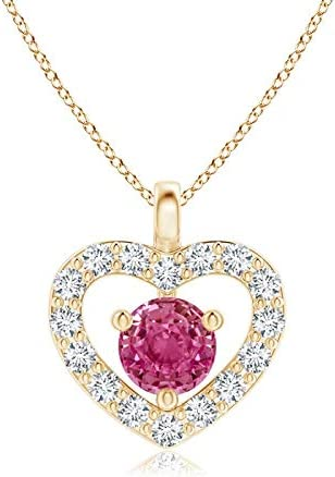 Solitaire Pink Special sale item Sapphire Open Heart 3mm Pendant Pi Super popular specialty store Diamonds with