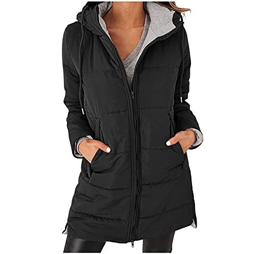 URIBAKY - Abrigo de piel de invierno para mujer, con cremallera, forro polar clido, con capucha, extrable, chaqueta militar, ajustada, Le Noir, XL