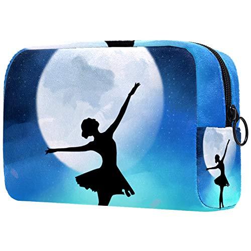 Neceser Maquillaje Portátil Danza Ballet Bolsa de Maquillaje Organizador de Maquillaje Bolso de Cosméticos de Viaje para niñas y Mujeres 18.5x7.5x13cm