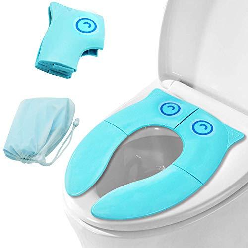 OneChois Kinder Toilettensitz, Faltbarer Toilettensitz,Tragbar Reise WC Sitz Kleinkind Töpfchentrainer mit Aufbewahrungstüte