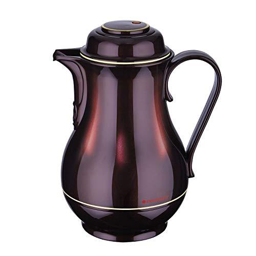 ROTPUNKT Isolierkanne 830 Christa 1,2 l | Zweifunktions-Drehverschluss | BPA-frei - gesundes Trinken | Made in Germany | Warm + Kalthaltung | Glaseinsatz | Black Cherry