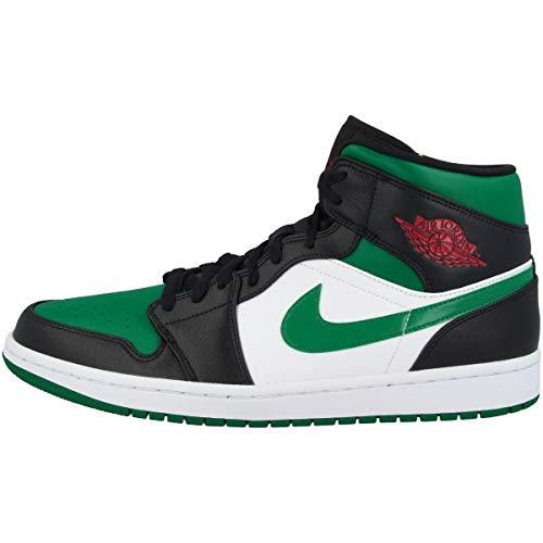 Nike Air Jordan 1 Mid, Scarpe da Basket Uomo, Black/Pine Green/White/Gym Red, 42 EU