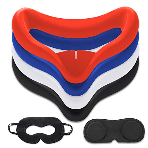 10PCS Set VR Silicone Face Cover Compatible for Oculus Quest 2 Accessories , Sweat-Proof Lightproof Non-Slip Washable Replacement (Blue/Black/Red/White),Len Protector,Disposable Eye Cover.